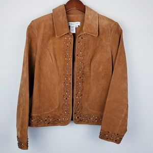 Coldwater Creek beaded leather jacket petite small